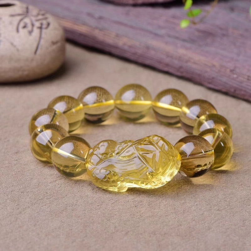 Natural Citrine Quartz Crystal PiXiu Bracelet Man Recruit Wealth Transport for woman gift 10mm