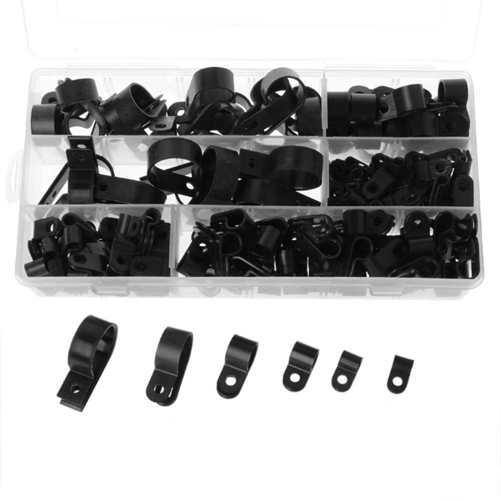 Secure Cable Tubing 200pcs Nylon Wire Clamp Fastener Plastic Clips Hose P Type Clamps Cord Clip Car Accessories