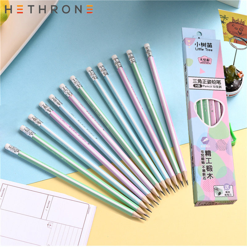 Hethrone 12pcs simple wooden pencils for school Student writing drawing pencil set crayons sketch graphite lapices school items(China)