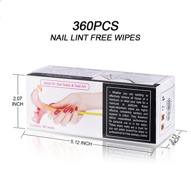 Modelones 360Pcs/Lot Lint-Free Nail Wipes Napkins Nail Art Nail Remover Wipes For Gel Polish Remove Cotton Nails Pads Paper