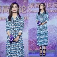 2019 Dress Sexy Zhao Wei Celebrity Full Temperament Print Striped Women Turn Down Collar Night Club Body con Dresses Wholesale