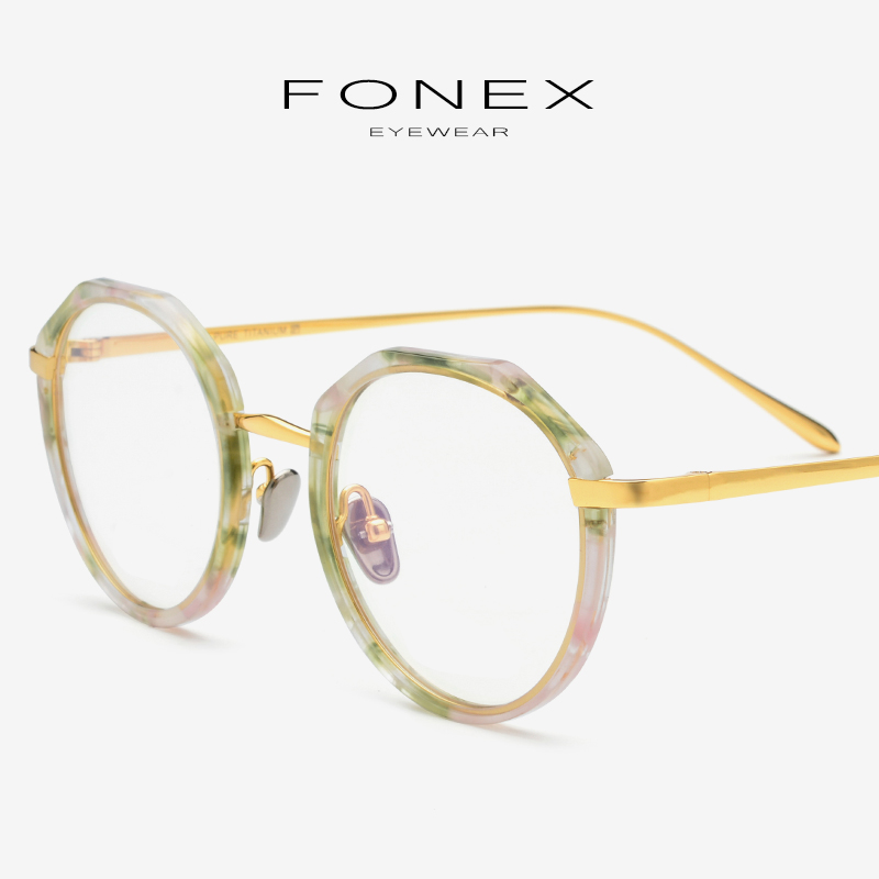 Acetate Pure Titanium Eyeglasses Frame Women Vintage Round Ultralight Prescription Myopia Optical Glasses Frame Men Eyewear