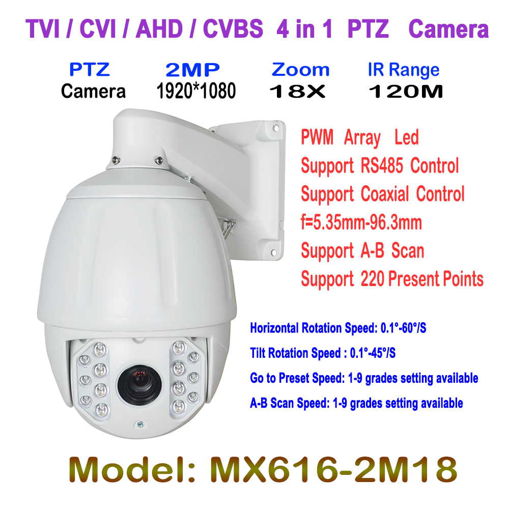 PTZ Middle High Speed Dome 1080P Full HD 18X Zoom IR 120M Night Vision 4 in 1 HD AHD TVI CVI PTZ Camera Safe Road Surveillance 33x zoom 4 in 1 cvi tvi ahd ptz camera 1080p cctv camera ip66 waterproof long range ir 200m security speed dome camera with osd