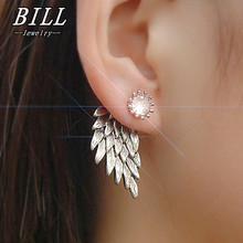 Women s Angel Wings Stud Earrings Inlaid Crystal Alloy Ear Jewelry Party Earring Gothic Feather Brincos