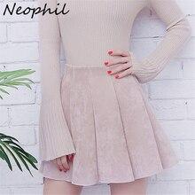 Neophil осенние женские Мини плиссированные замшевые юбки в консервативном стиле Falda Plisada с высокой талией для школьниц короткая юбка Skater S1806