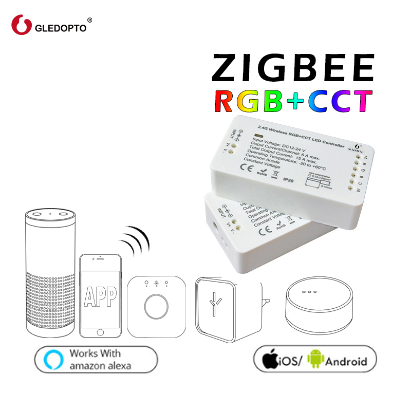 GLEDOPTO ZIGBEE Led controller RGB+CCT RGBW RGB WW/CW zigbee controller dc12-24v smart zll app controller workwith aleax plusle new led zigbee led rgbw controller 12v 24v lightify tradfri compatible led controller rgbw zigbee controller zll app controller