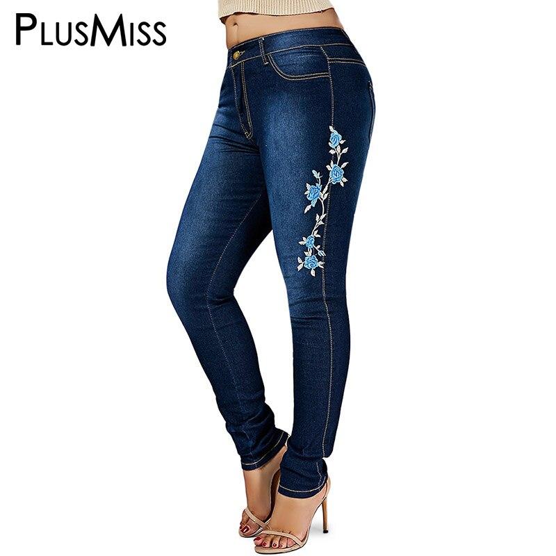 PlusMiss Plus Taille 6XL 5XL Maigre Floral Brodé Déchiré Jeans Femme Denim Pantalon Femmes Grande Taille Crayon Jean Femme Maman noir