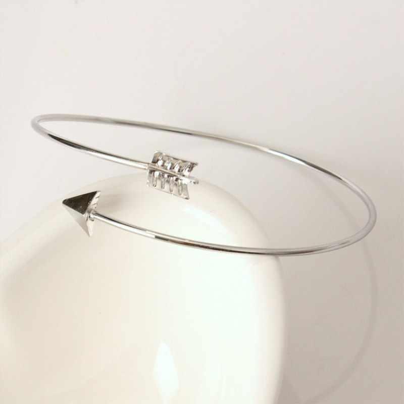Открытые панковские регулируемые браслеты-манжеты со стрелкой для женщин, модные простые готические наручные браслеты в виде перьев, Подарочные ювелирные изделия, оптовая продажа