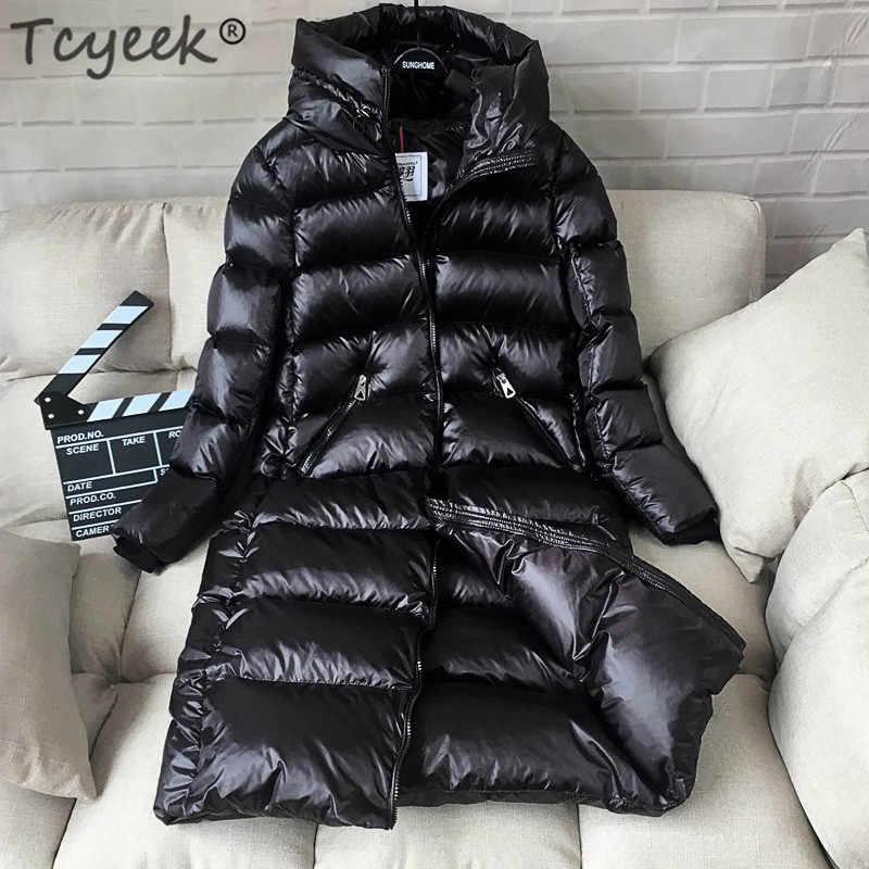 Tcyeek зимняя куртка женская пуховая куртка женская толстая 90% белая куртка на утином пуху женские длинные пальто теплая одежда с капюшоном 2019 LWL1040