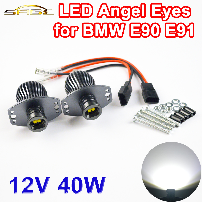 2 Pieces(1 Set) 2*20W 40W LED Marker Angel Eyes Halo Light High Power for CREE LED Chips XENON White for BMW E90 E91  12v 24v 20w cree chips led angel eye light halo lights error free for bmw e90 e91 7000k white 1250lmcree chips led marker lights