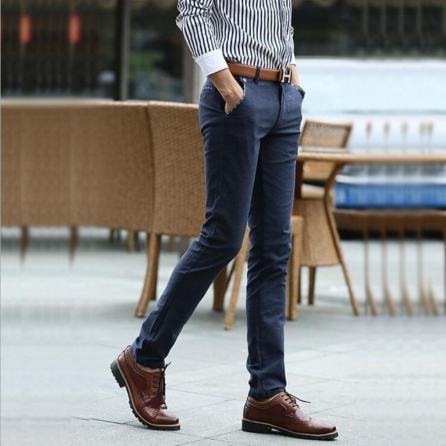 2016 nueva primavera hombres camiseta Slim Fit traje de negocios informales pantalones alta calidad de hombre Formal rectas vestir pantalones Size28-36