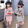 2016 Children's Clothing Spring Baby Stripe Cherry T-shirt 5-15Y Girls Long T-shirt Dress For Teenagers Girls Clothing Wear Top