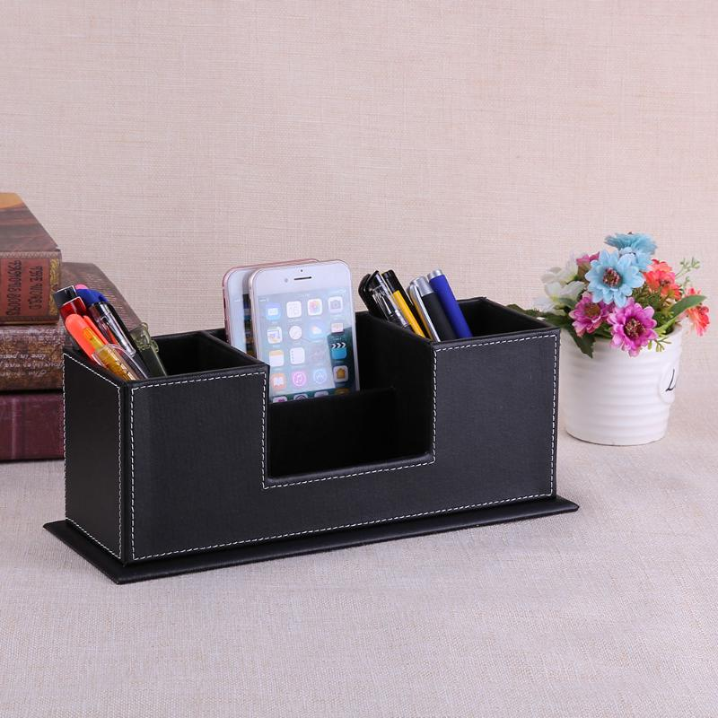 Multifunction Black PU Leather Desk Organizer Sationery Pencil Pen Holder Storage Box Container Kalemlik Office Accessories pen pencil holder box full half pu leather case desk stationery organizer storage box desk accessories school