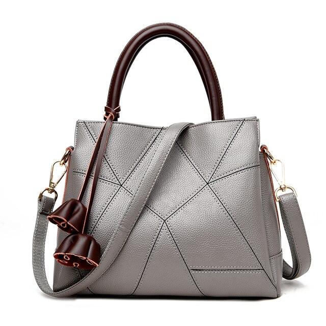 ed3271ad29 Hot Selling Ladies Bags 2018 Women Flower Design Handbags Genuine Leather  Top-handle Bag Patchwork Shoulder Crossbody Bags Gray