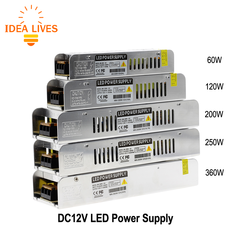 LED Driver Power Supply AC220 to DC12V 60W 120W 200W 250W 360W LED Adapter Lighting Transformers best quality 12v 15a 180w switching power supply driver for led strip ac 100 240v input to dc 12v
