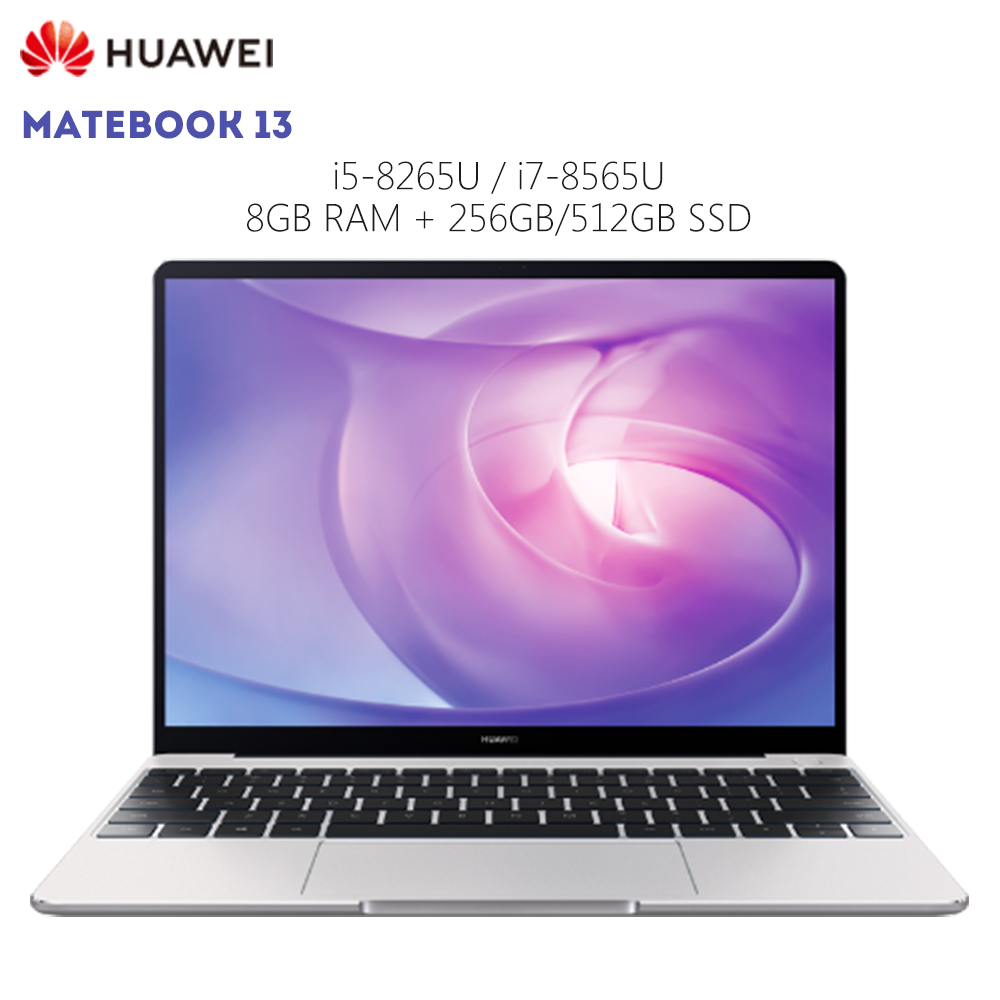 Original HUAWEI MateBook 13 Laptop Windows 10 Intel Core I5 8265U / I7 8565U 8GB RAM 256GB SSD 13 Inch Notebook Fingerprint