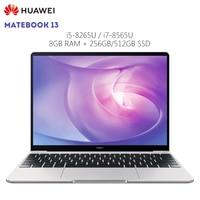 Original HUAWEI MateBook 13 Laptop Windows 10 Intel Core i5 8265U / i7 8565U 8GB RAM 256GB SSD 13 inch Notebook Fingerprint