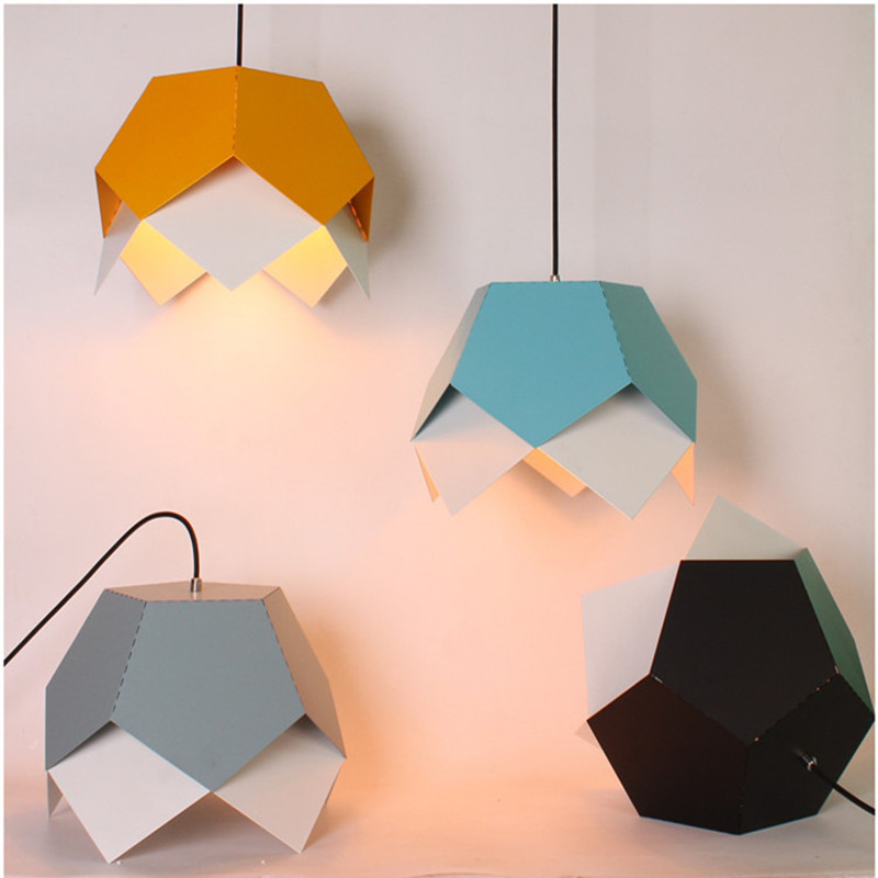 Nordic Geometric Cafe Chandelier Simple Restaurant Bar Lamp Creative Office Light Living Room Decoration Lamp Free Shipping northern creative mix color retro restaurant chandelier edison bulb living room lamp bar lamp cafe light free shipping