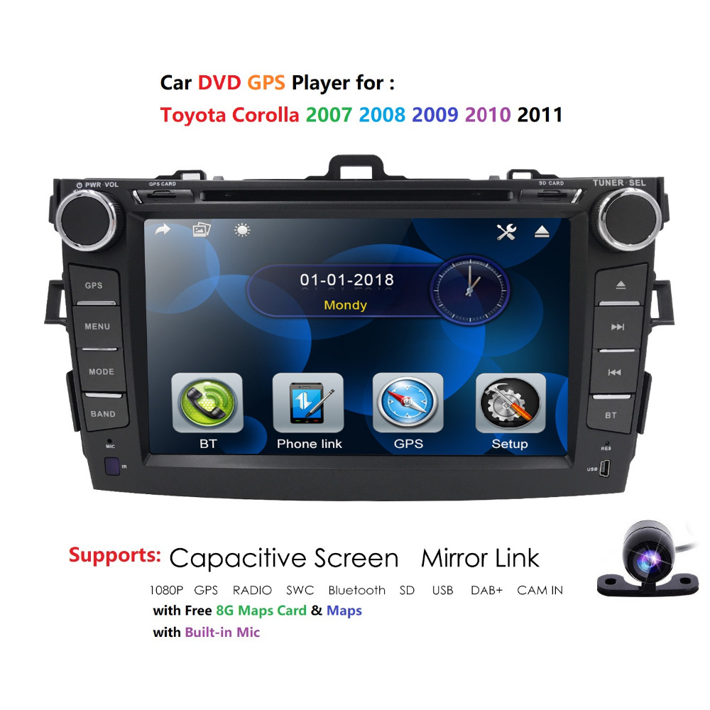 Hizpo autoradio Lecteur vidéo multimédia lien miroir Pour Toyota Corolla E140/150 2008 2009 2010 2011 2012 2013 Aucun Android 2 DIN