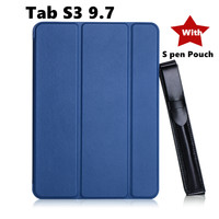 For Samsung Galaxy Tab S3 9.7 T820 T825 T829 Tablet Case Protective shell+TPU edge Flip Hard Back Cover + S Pen Stylus Pouch
