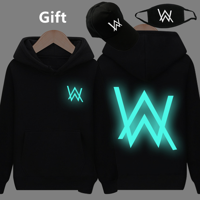 Mask& Cap as Gifts Alan Walker warm pullover hoodies luminous glowing in dark sweatshirt hip hop hooded jacket coat tracksuits