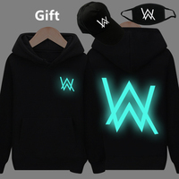 Mask& Cap as Gifts Alan Walker warm pullover hoodies luminous glowing in dark sweatshirt hip hop hooded jacket coat tracksuits