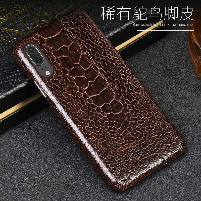 Capa de telefone de couro de luxo para huawei p10 p20 lite p10 p20 p30 pro caso de avestruz natural pé pele para mate 10 lite p caso inteligente