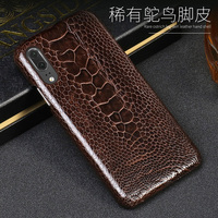 Luxury Leather phone case For Huawei P10 P20 Lite P10 P20 P30 Pro Case Natural ostrich foot skin For Mate 10 lite P smart Case