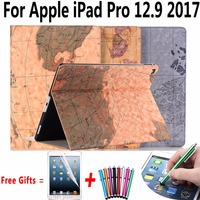Case For Apple IPad Pro 12 9 2017 Map Pu Leather Ultra Thin Smart Cover For