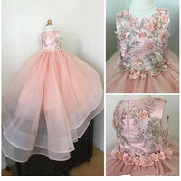 Розовые кружевные платья с объемными цветами и бисером для девочек бальное платье органза с круглым вырезом детское платье на день рождени
