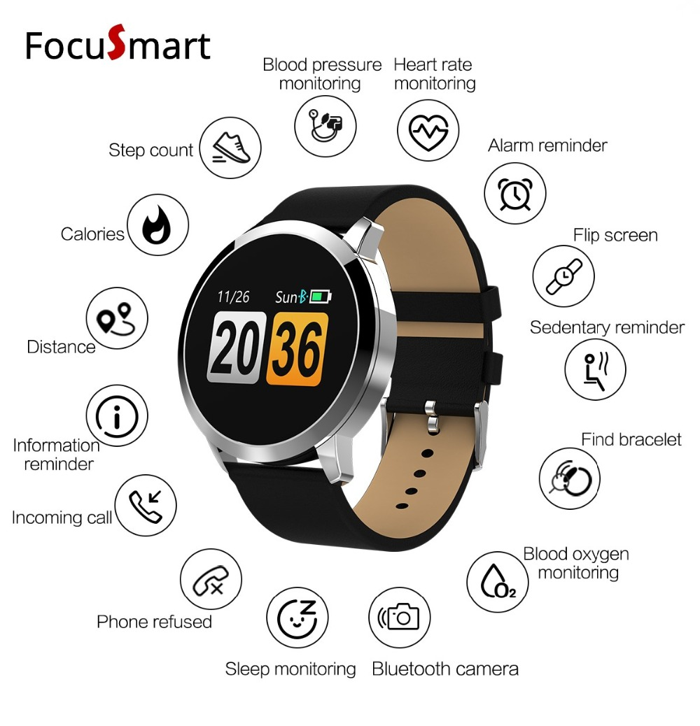 FocuSmart Q8 Round Smart Band Watch Color Blood pressure Heart Rate tracker Monitor Bluetooth 4.0 Smartwatch for Android IOS