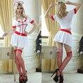 Nueva alta calidad de Halloween mujeres lencería Sexy Club Wear Cosplay tentación enfermera uniforme blanco trajes atractivos mujeres se visten