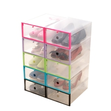 Box 8Pcs Plastic Foldable Shoes Box Transparent Crystal Storage Shoebox Household DIY Clamshell Shoebox Storage Box (Black)