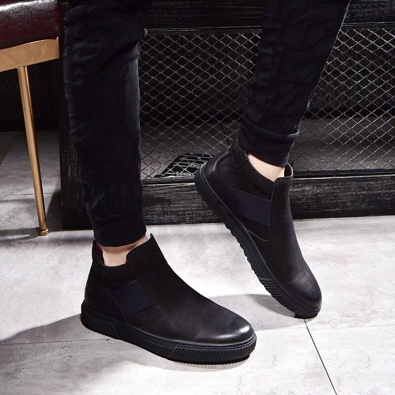 Alta Vaca Botas Hombres Los Piel Ocio Para negro Chelsea Otoño Británico Hombre Zapatos Coreanos De Invierno Cuero E Velvet Genuino Black 6XrP6q