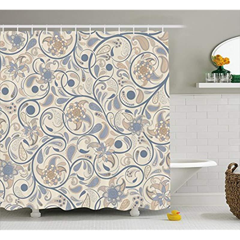 Vixm rideau de douche Vintage rouleau Oriental avec feuilles tourbillonnantes avec Inspirations orientales tissu rideaux de bain