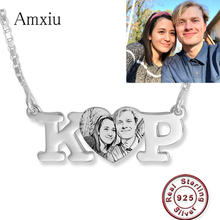Amxiu 100% 925 Sterling Silver Necklace Engrave Picture Initials Name Pendant Necklace DIY Photo Necklace Personalized Jewelry(China)