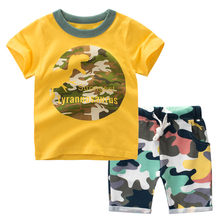 Baby Clothes Sets Animal Dinosaur Suit T Shirt Tops Camo Shorts Outfits Set summer boy clothes kids sport suit Bebek Giyim(China)