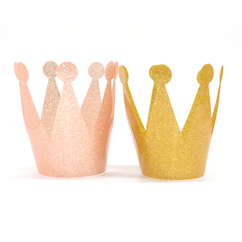 6Pcs Gold Hat Festive Party Prince&Princess Crown Headgear Birthday Party Decor Festive Party Baby Shower Supplies Accessories