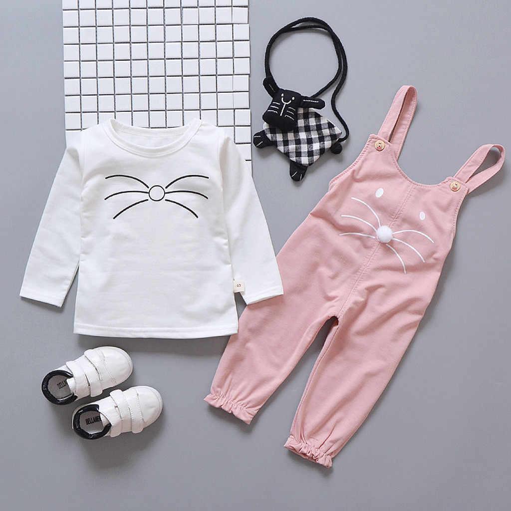 Lucu Gadis Pakaian Set Lengan Panjang Lucu Kucing Cetak Anak Pakaian 2019 Musim Panas Bayi Balita Gadis Boutique Pakaian 1 2 3 4 Tahun
