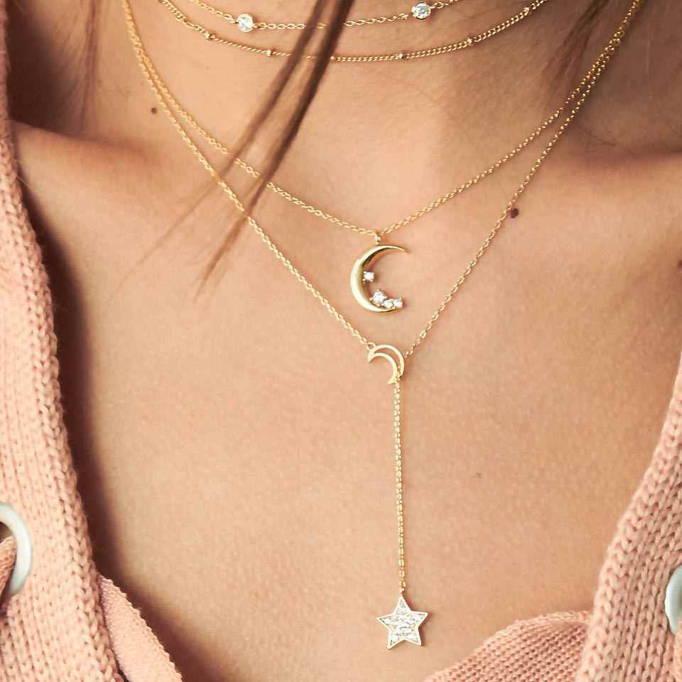 New Fashion Necklace Personality Moon Five-pointed Star Multi-layer Combination Statemen Necklace Women Jewelry Wholesale