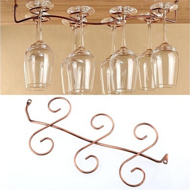 Useful Fashion Bar Red Wine Glass Hanger Holder Hanging Rack Shelf hold up to 6/8 wine glasses cups wine glass holder under cabinetry