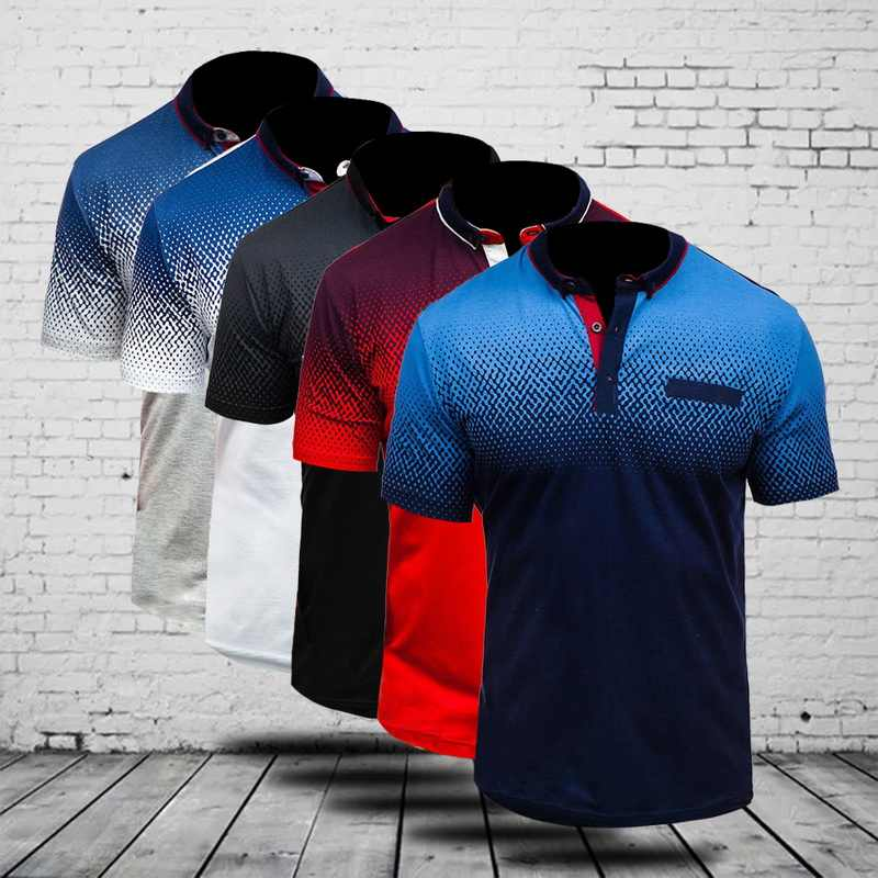 MJARTORIA Men's Summer 3D Print Polo shirt Breathable Cool Stand Collar Short Sleeve 2019 Casual Cotton Comfortable Polo Shirts