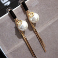 EH347 Tassels famous brand Di luxury jewelry pearl letter D pendientes brincos boucles d'oreilles bijoux earrings for women