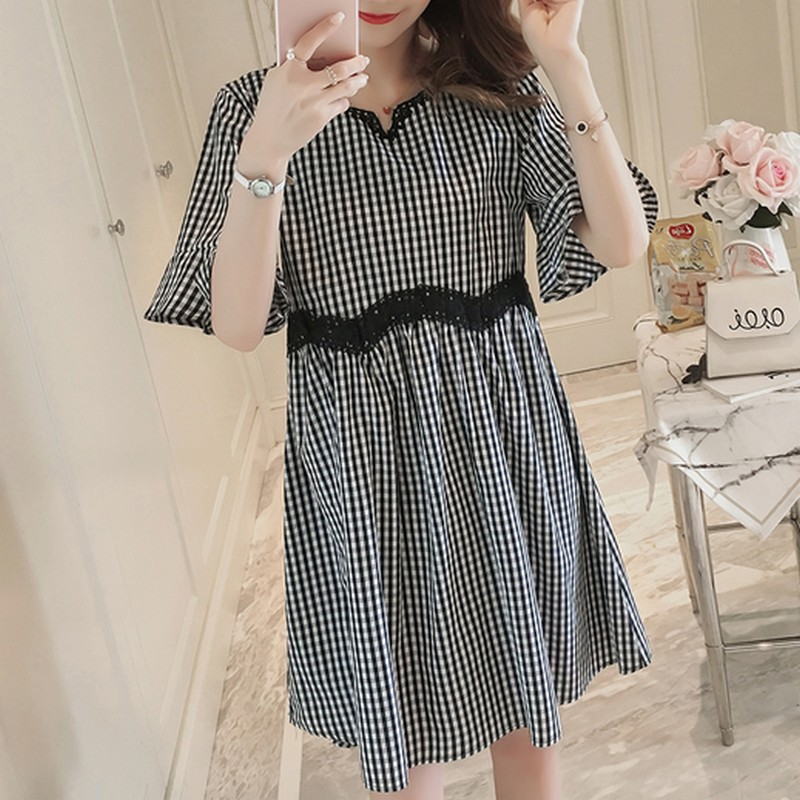 Short Sleeve Plaid Dress For Pregnant Women Pregnancy Dress Fashion Lace Loose Ruffles Pleated Casual Dresses Maternity Clothes