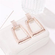 2019 cross-border new earrings Personality exaggerated womens geometric Trapezoidal metal factory direct