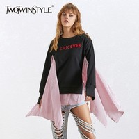 TWOTWINSTYLE Asymmetrical Pullover For Women O Neck Long Sleeve Striped Patchwork Sweatshirt Female Fashion Autumn 2019 New