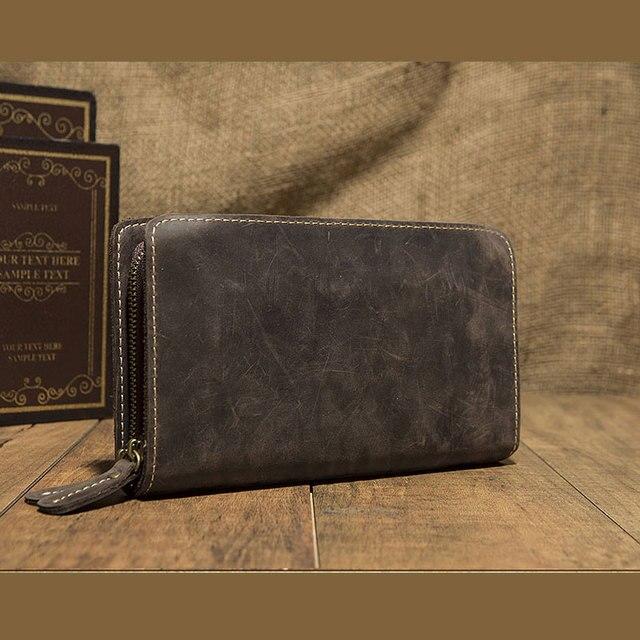 Portemonnee Koeienprint.Briljante Eerste Laag Koe Lederen Portemonnee Mannen Bifold Zipper