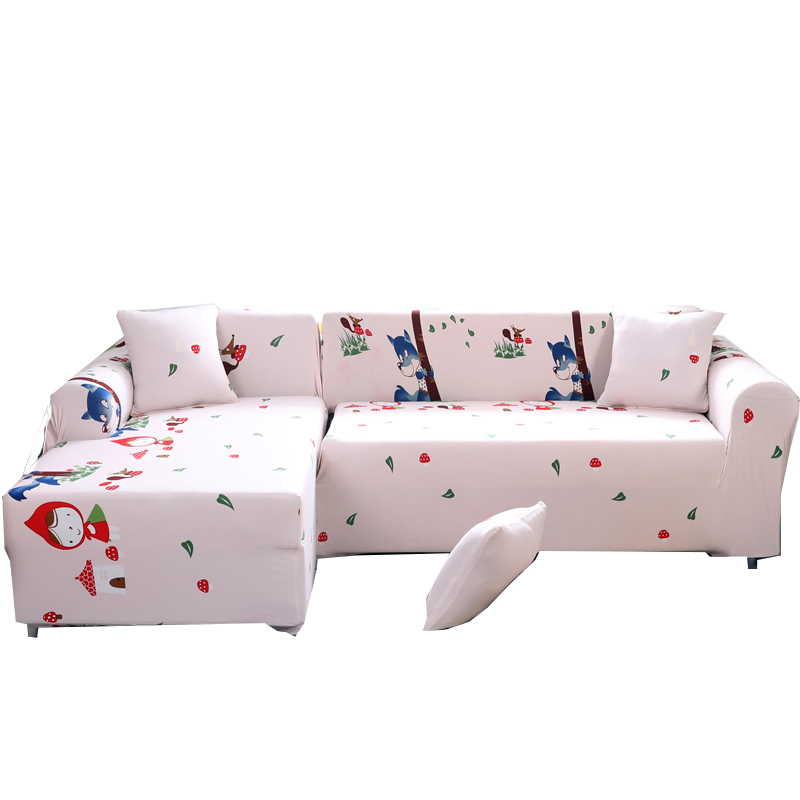 2PCS Cushion Cover Universal Sectional Sofa Covers For Living Room Cartoon Elastic L Sha ...