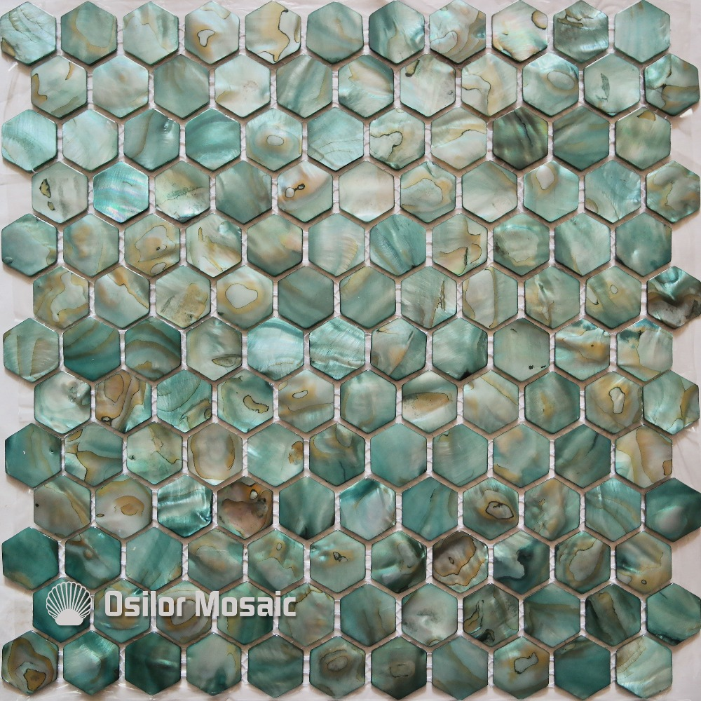 Free Shipping Dyed Green Color Natural Chinese Freshwater Shell Mother Of Pearl Mosaic Tile For Bathroom Decoration Wall Tile