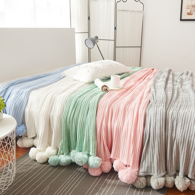 Cotton Crocheted Throw Blanket with Pompoms